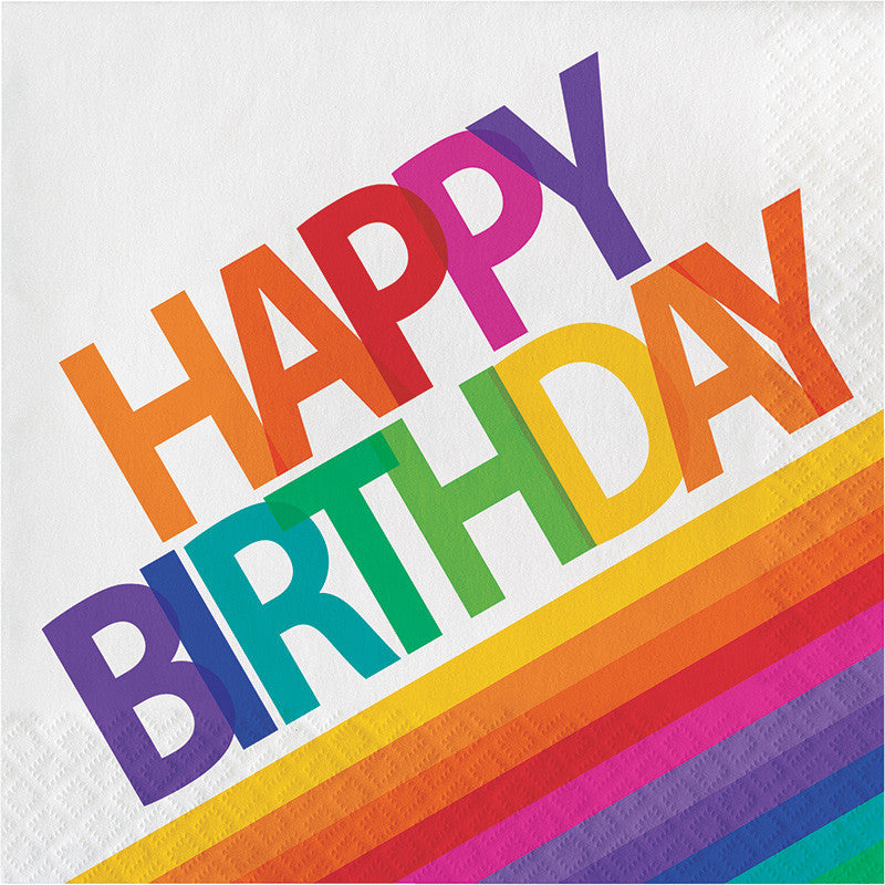 "Rainbow ""Happy Birthday"" Lunch Napkins - GENERAL BIRTHDAY PATTERNS - Party Supplies - America Likes To Party"