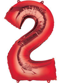 Giant Red Number 2 Balloon - MEGALOON NUMBERS/LETTERS - Party Supplies - America Likes To Party