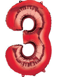 Giant Red Number 3 Balloon - MEGALOON NUMBERS/LETTERS - Party Supplies - America Likes To Party