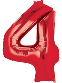 Giant Red Number 4 Balloon - MEGALOON NUMBERS/LETTERS - Party Supplies - America Likes To Party