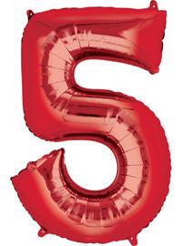 Giant Red Number 5 Balloon - MEGALOON NUMBERS/LETTERS - Party Supplies - America Likes To Party