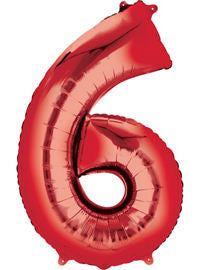 Giant Red Number 6 Balloon - MEGALOON NUMBERS/LETTERS - Party Supplies - America Likes To Party