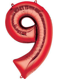 Giant Red Number 9 Balloon - MEGALOON NUMBERS/LETTERS - Party Supplies - America Likes To Party