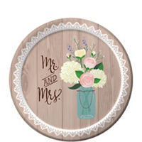 Rustic Wedding Dessert Plates 8ct - TABLEWARE WEDDING - Party Supplies - America Likes To Party