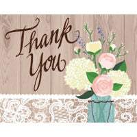 Rustic Wedding Thank You Cards 8ct - TABLEWARE WEDDING - Party Supplies - America Likes To Party