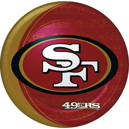 San Francisco 49ers Dessert Plates 8ct - NFL - Party Supplies - America Likes To Party