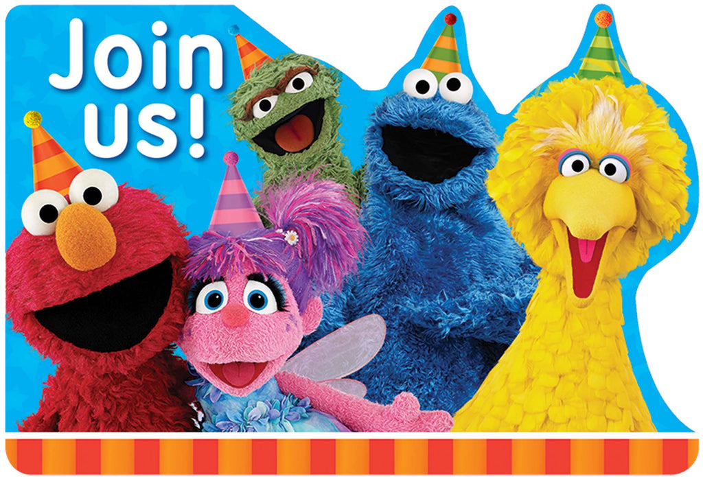 Sesame Street Invitation 8ct - SESAME STREET - Party Supplies - America Likes To Party