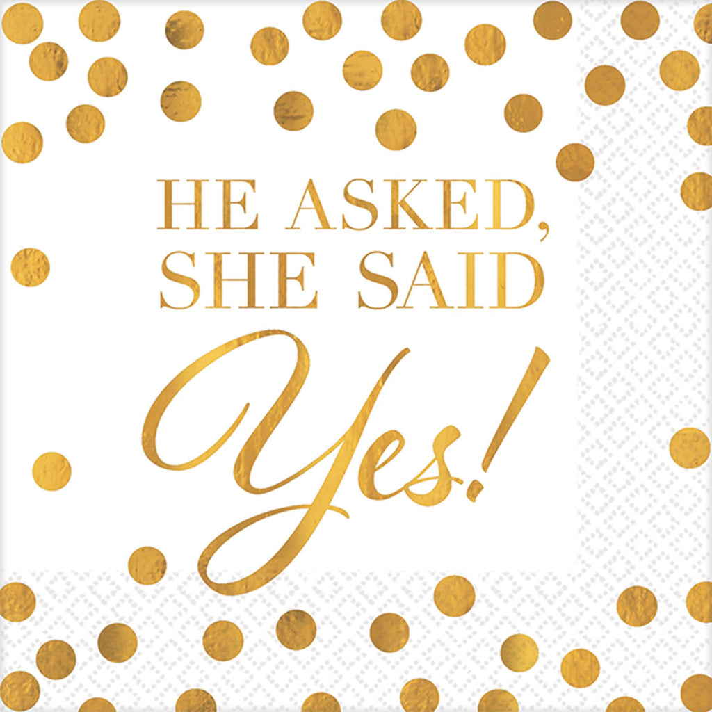He Asked, She Said Yes Beverage Napkins - TABLEWARE WEDDING - Party Supplies - America Likes To Party