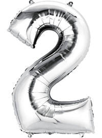 Giant Silver Number 2 Balloon - MEGALOON NUMBERS/LETTERS - Party Supplies - America Likes To Party