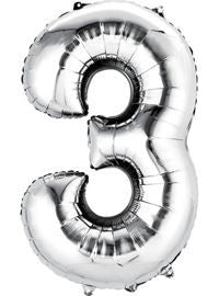 Giant Silver Number 3 Balloon - MEGALOON NUMBERS/LETTERS - Party Supplies - America Likes To Party