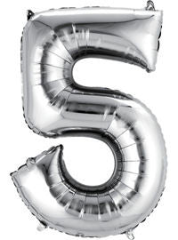 Giant Silver Number 5 Balloon - MEGALOON NUMBERS/LETTERS - Party Supplies - America Likes To Party