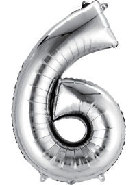 Giant Silver Number 6 Balloon - MEGALOON NUMBERS/LETTERS - Party Supplies - America Likes To Party