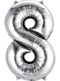 Giant Silver Number 8 Balloon - MEGALOON NUMBERS/LETTERS - Party Supplies - America Likes To Party