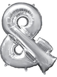 Giant Silver Ampersand Symbol Balloon - MEGALOON NUMBERS/LETTERS - Party Supplies - America Likes To Party