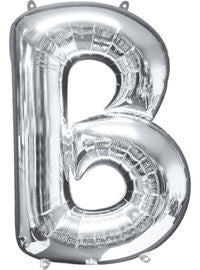 Giant Silver Letter B Balloon - MEGALOON NUMBERS/LETTERS - Party Supplies - America Likes To Party