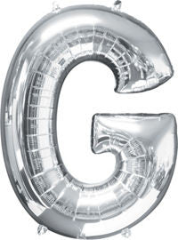 Giant Silver Letter G Balloon - MEGALOON NUMBERS/LETTERS - Party Supplies - America Likes To Party