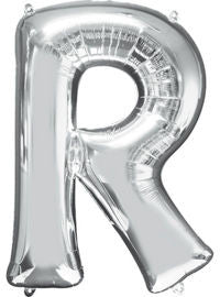 Giant Silver Letter R Balloon - MEGALOON NUMBERS/LETTERS - Party Supplies - America Likes To Party