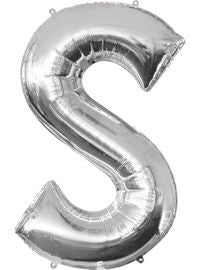 Giant Silver Letter S Balloon - MEGALOON NUMBERS/LETTERS - Party Supplies - America Likes To Party