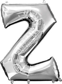 Giant Silver Letter Z Balloon - MEGALOON NUMBERS/LETTERS - Party Supplies - America Likes To Party
