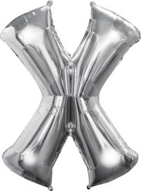 Giant Silver Letter X Balloon - MEGALOON NUMBERS/LETTERS - Party Supplies - America Likes To Party