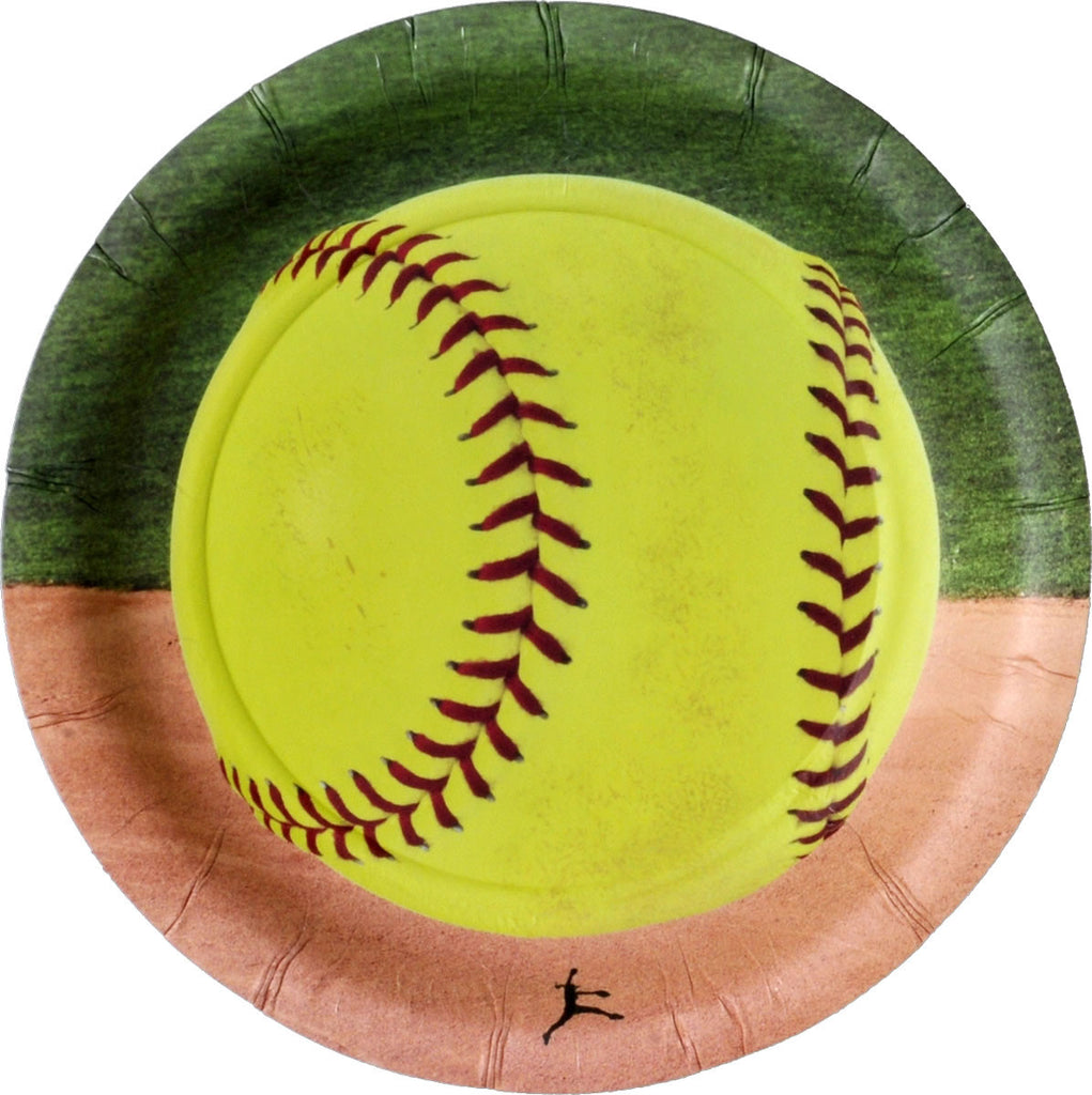 Softball Dessert Plates 8ct - BASEBALL/SOFTBALL - Party Supplies - America Likes To Party