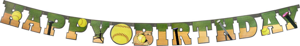 Softball Birthday Banner - BASEBALL/SOFTBALL - Party Supplies - America Likes To Party