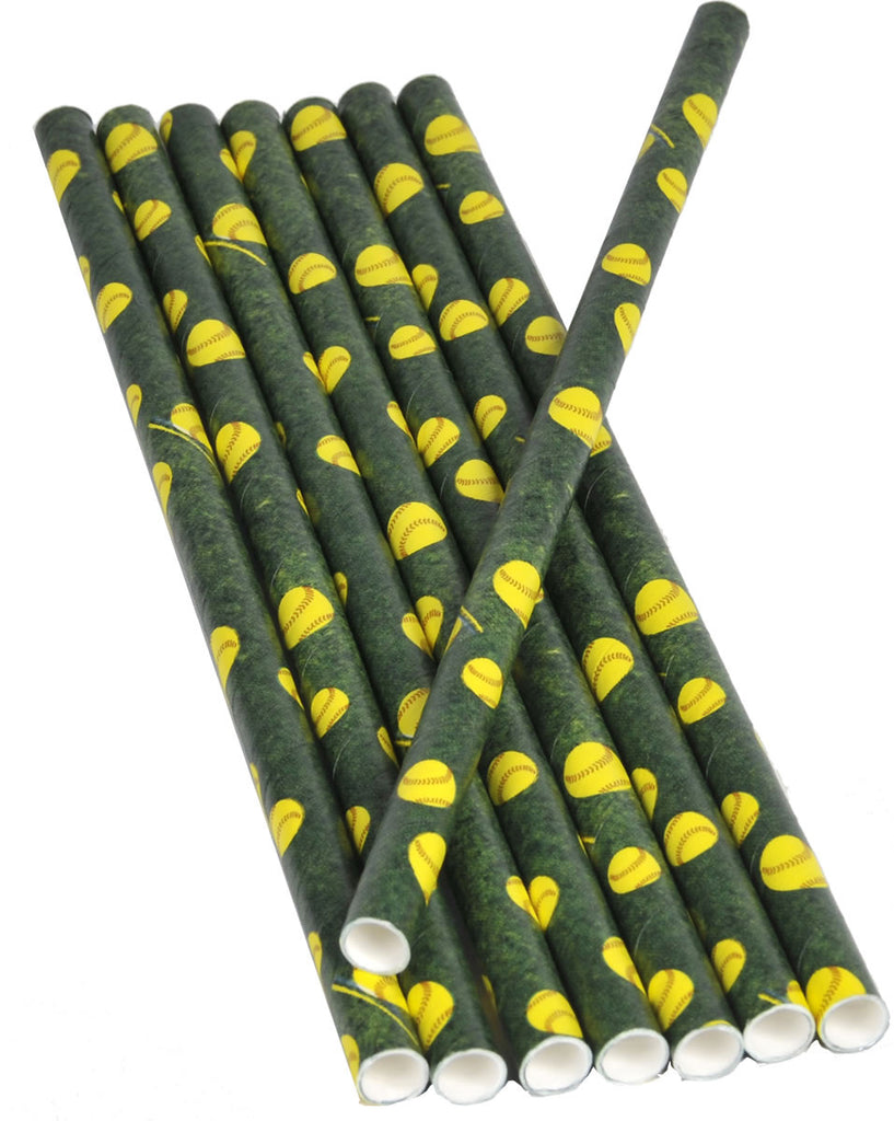 Softball Paper Straws 16ct - BASEBALL/SOFTBALL - Party Supplies - America Likes To Party