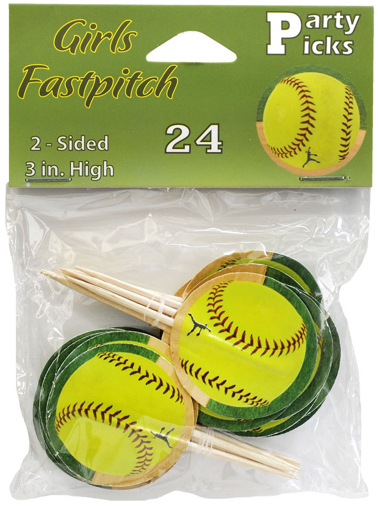 Softball Picks 24ct - BASEBALL/SOFTBALL - Party Supplies - America Likes To Party