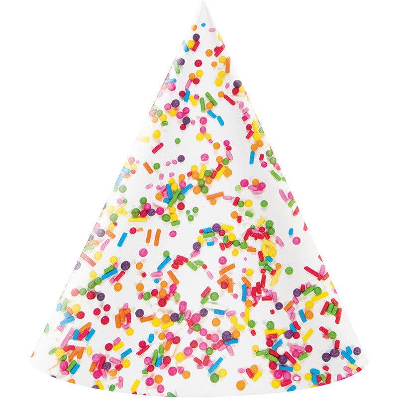Sprinkles Cone Hats 8ct - GENERAL BIRTHDAY PATTERNS - Party Supplies - America Likes To Party