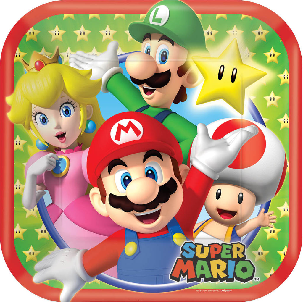 Super Mario Dessert Plates - MARIO - Party Supplies - America Likes To Party