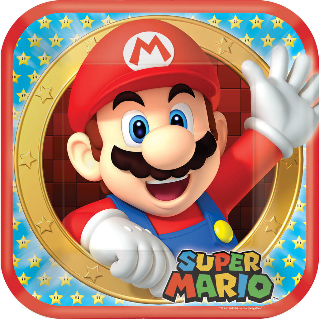 Super Mario Lunch Plates - MARIO - Party Supplies - America Likes To Party