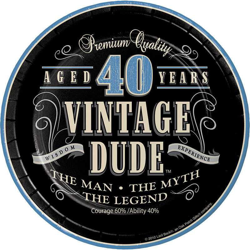 Vintage Dude 40th Birthday Dessert Plates - VINTAGE - Party Supplies - America Likes To Party