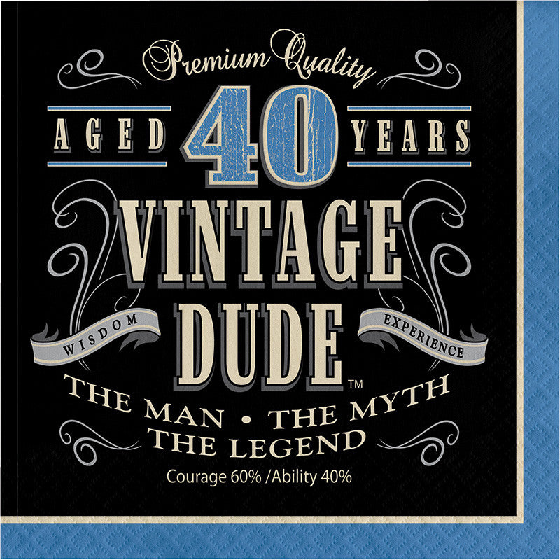 Vintage Dude 40th Birthday Lunch Napkins - VINTAGE - Party Supplies - America Likes To Party