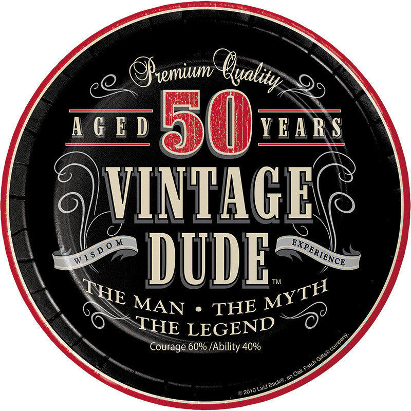 Vintage Dude 50th Birthday Dessert Plates - VINTAGE - Party Supplies - America Likes To Party