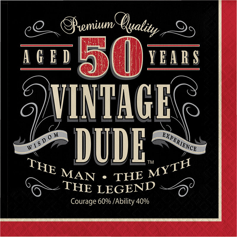 Vintage Dude 50th Birthday Lunch Napkins - VINTAGE - Party Supplies - America Likes To Party