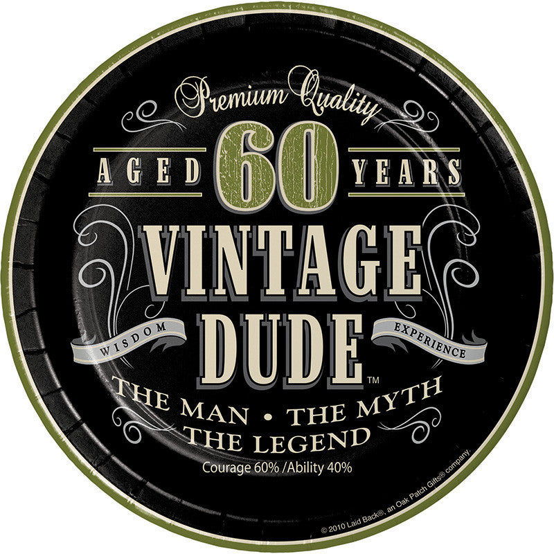 Vintage Dude 60th Birthday Dessert Plate - VINTAGE - Party Supplies - America Likes To Party