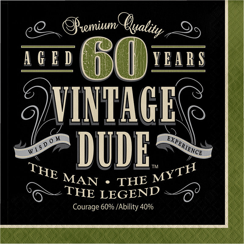 Vintage Dude 60th Birthday Lunch Napkins - VINTAGE - Party Supplies - America Likes To Party