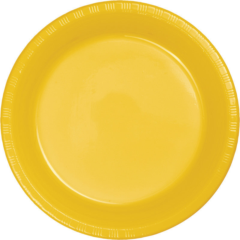 Sunshine Yellow Big Party Pack Plastic Dessert Plates 50ct - BIG PARTY PACKS - Party Supplies - America Likes To Party