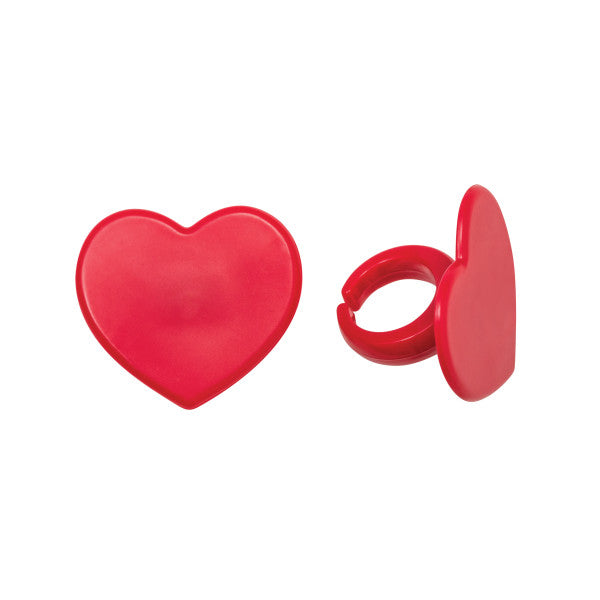 Red Heart Cupcake Rings 12ct - CUPCAKE - Party Supplies - America Likes To Party