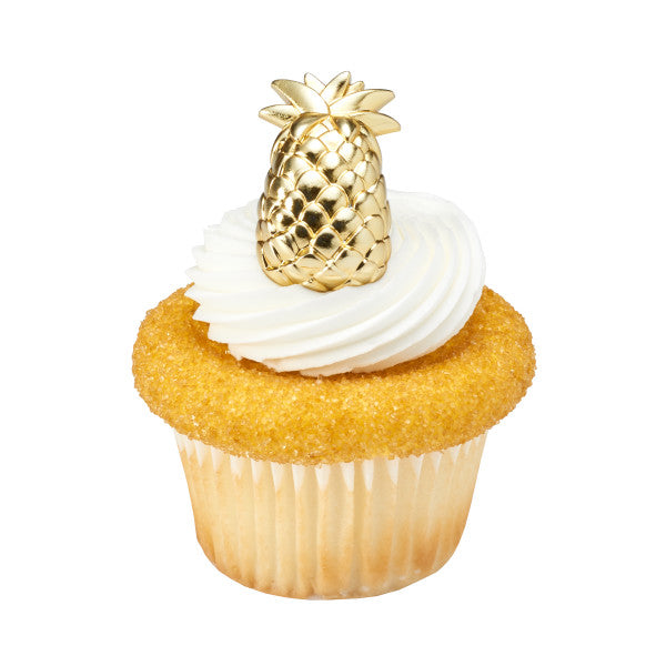 Gold Pineapple Cupcake Picks 12ct - CUPCAKE - Party Supplies - America Likes To Party