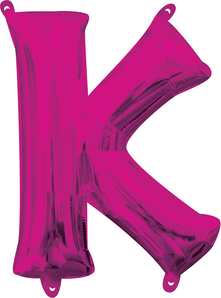 Air Filled Magenta Letter K Balloon