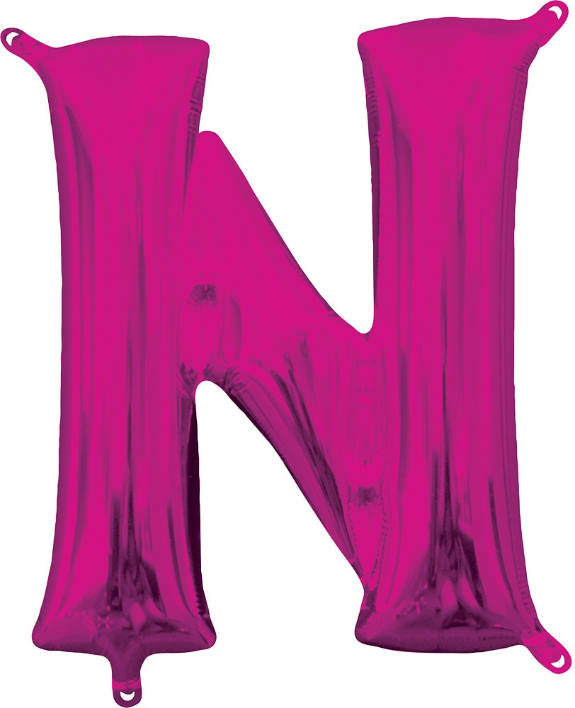 Air Filled Magenta Letter N Balloon