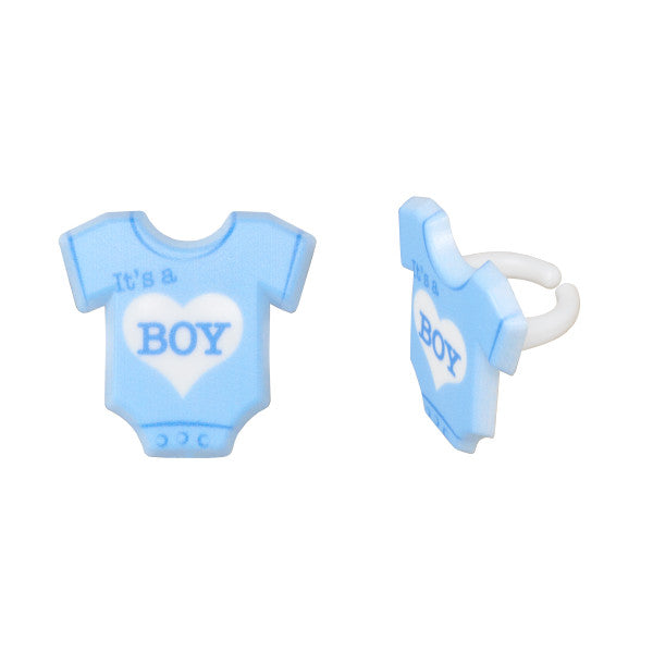 It's A Boy Onesie Cupcake Rings 12ct - CUPCAKE - Party Supplies - America Likes To Party