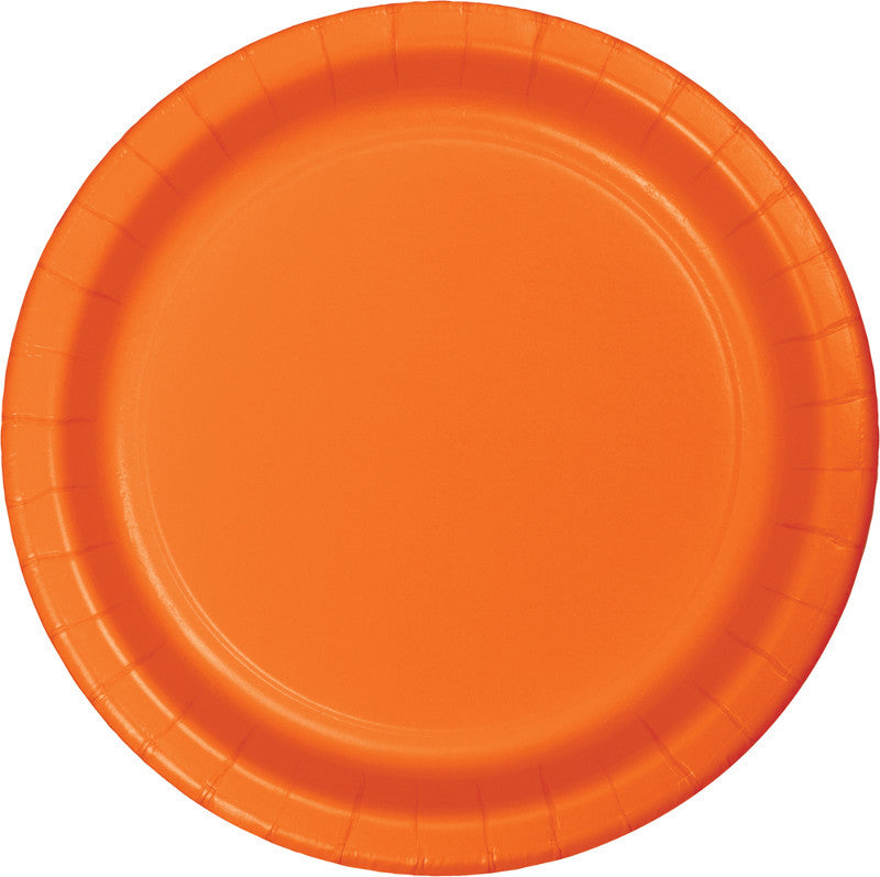 Orange Peel Big Party Pack Paper Lunch Plates 50ct - BIG PARTY PACKS - Party Supplies - America Likes To Party