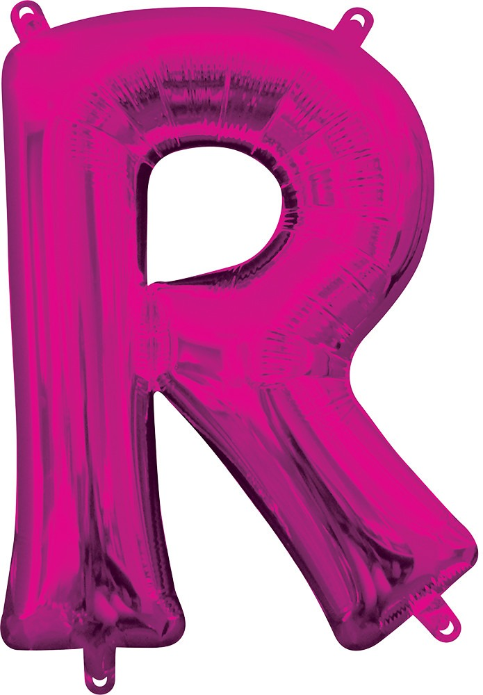 Air Filled Magenta Letter R Balloon