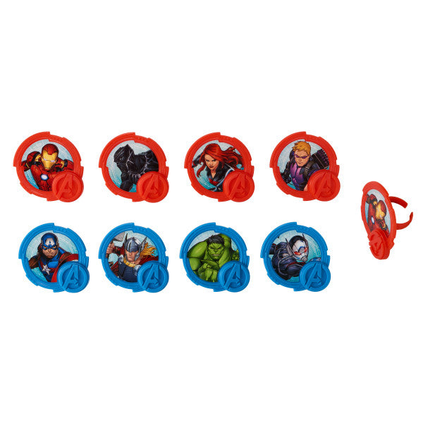 Avengers Cupcake Rings 12ct - CUPCAKE - Party Supplies - America Likes To Party