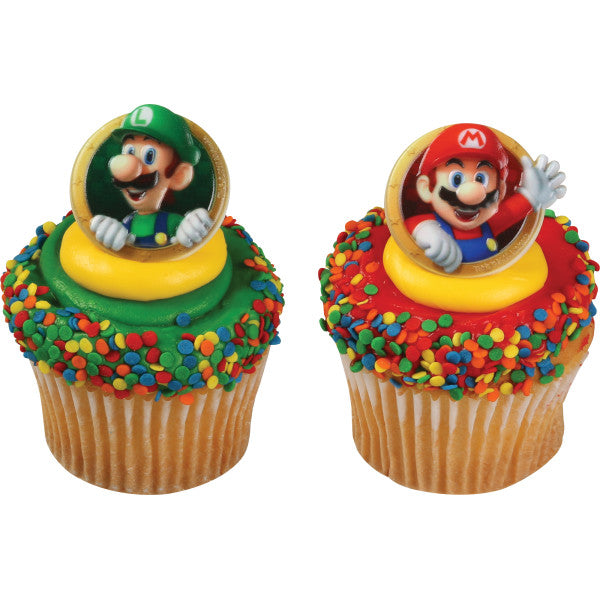 Super Mario Brothers Cupcake Rings 12ct - CUPCAKE - Party Supplies - America Likes To Party