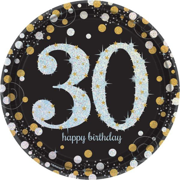 30th Sparkling Celebration Dessert Plates - SPARKLING CELEBRATION - Party Supplies - America Likes To Party