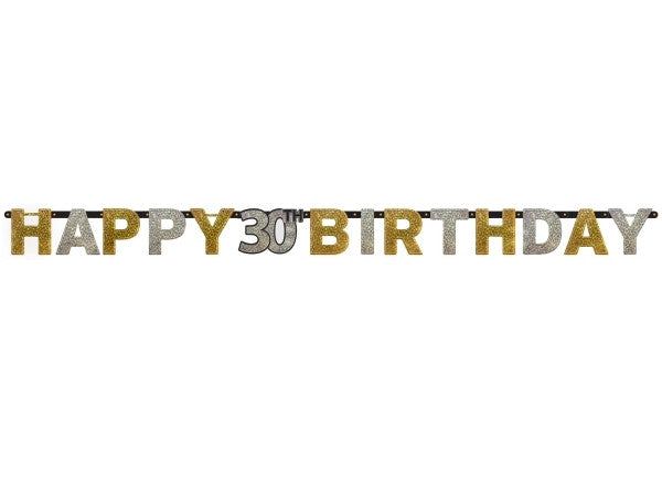 30th Sparkling Celebration Letter Banner - SPARKLING CELEBRATION - Party Supplies - America Likes To Party