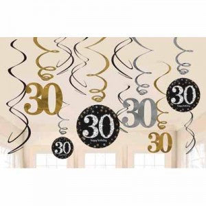 30th Sparkling Celebration Swirl Decorations - SPARKLING CELEBRATION - Party Supplies - America Likes To Party